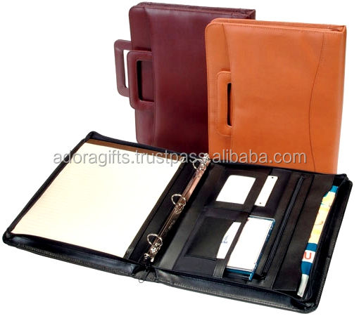 Handmade Cheap Leather Ring Binder / A4 ring binder folder new india products for sale india factory