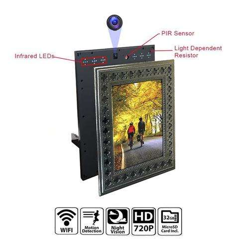 NuCam Yieye WiFi Photo Frame Hidden Spy 카메라 대 한 홈/Office 보안 & Pet/온 아이는 감시 w. 720 P HD, 365 일 Battery 삶