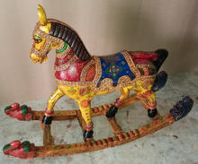High quality hand made wooden painted rocking horse