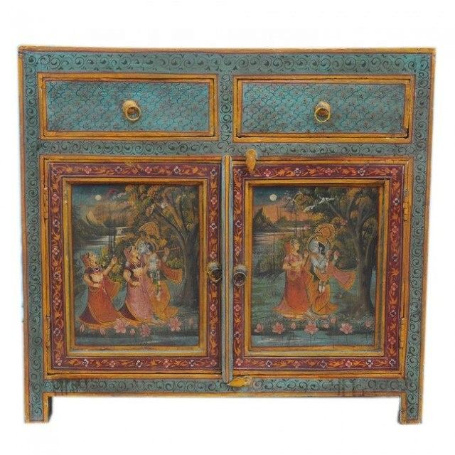 Antique Unique Hand Painted Intricate Art Solid Wood 2 Door 2 Drawer Sideboard Cabinet