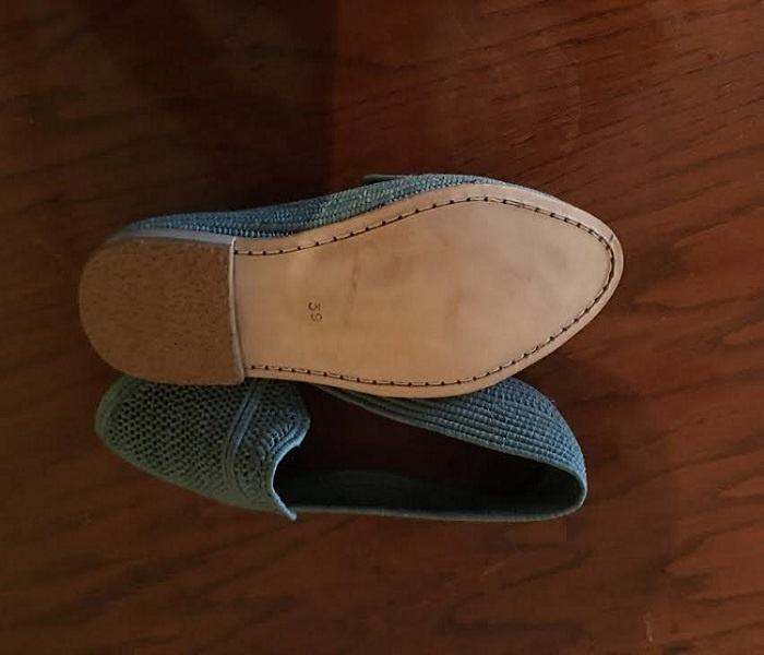Moroccan Green 라피아 Loafer 대 한 Woman