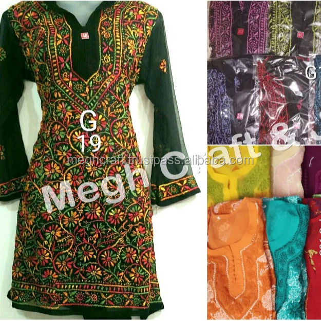 wholesale Beach wear Georgette Tunics / Kurtis / Tops - fashion chiffon Kurtis- Georgette Lucknow chikan embroidery kurtis