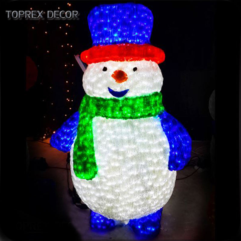 3d artificial christmas light up indoor outdoor acrylic led snowman