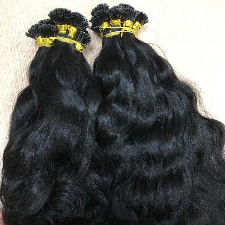 NATURAL WAVY WITH I TIP HAIR 100% HUMAN REMY HAIR UP TO 32''