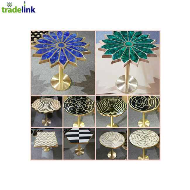 Extremely Beautiful Gemstone Coffee Tables with Brass Stand