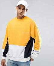Custom colour block 100 cotton hooded varsity zip up hoodies/Men High Quality Oversized Sweatshirt With Yellow Colour Blocking