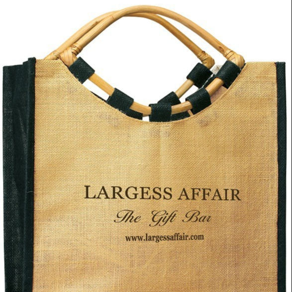 Eco-Friendly Two Toned Jute Shopping Bag - features eye cane handles and comes with your logo.