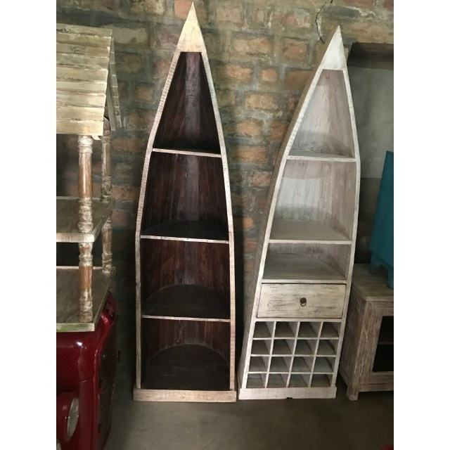 New Reclaimed Solid Wood Boat Shape Display Wine Rack And Drawer