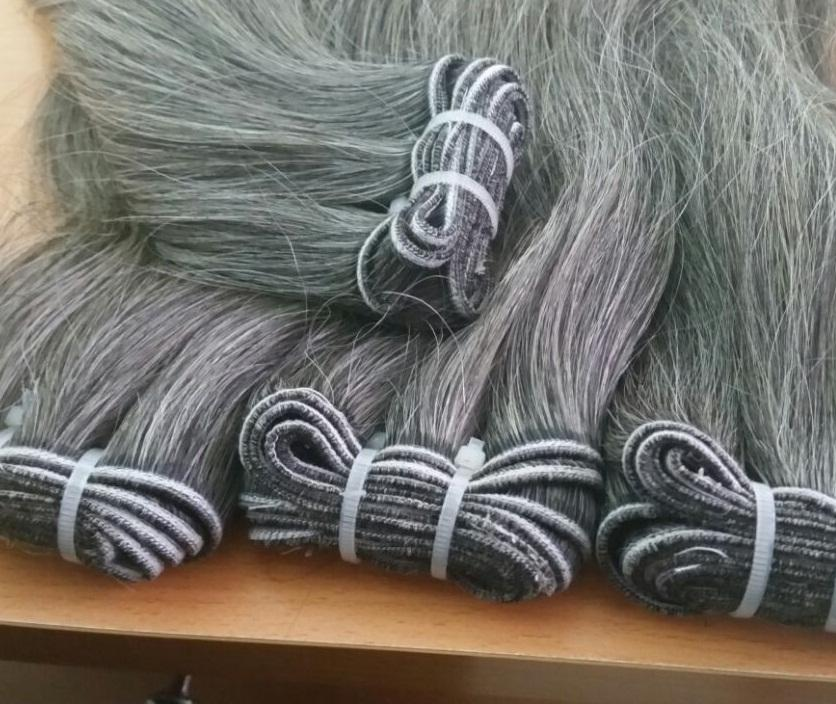 Best price gray hair natural hair 100% unprocessed which takes from old person 8A grade
