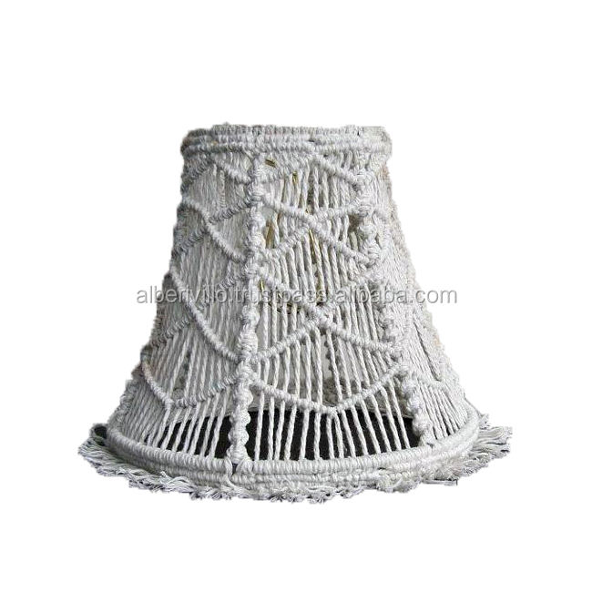 Popular White Cone Cotton Thread Wrapped Modern Decors Lampshade Manufacturers