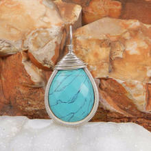 Syn. turquoise gemstone 925 sterling silver wire wrapped designer pendant
