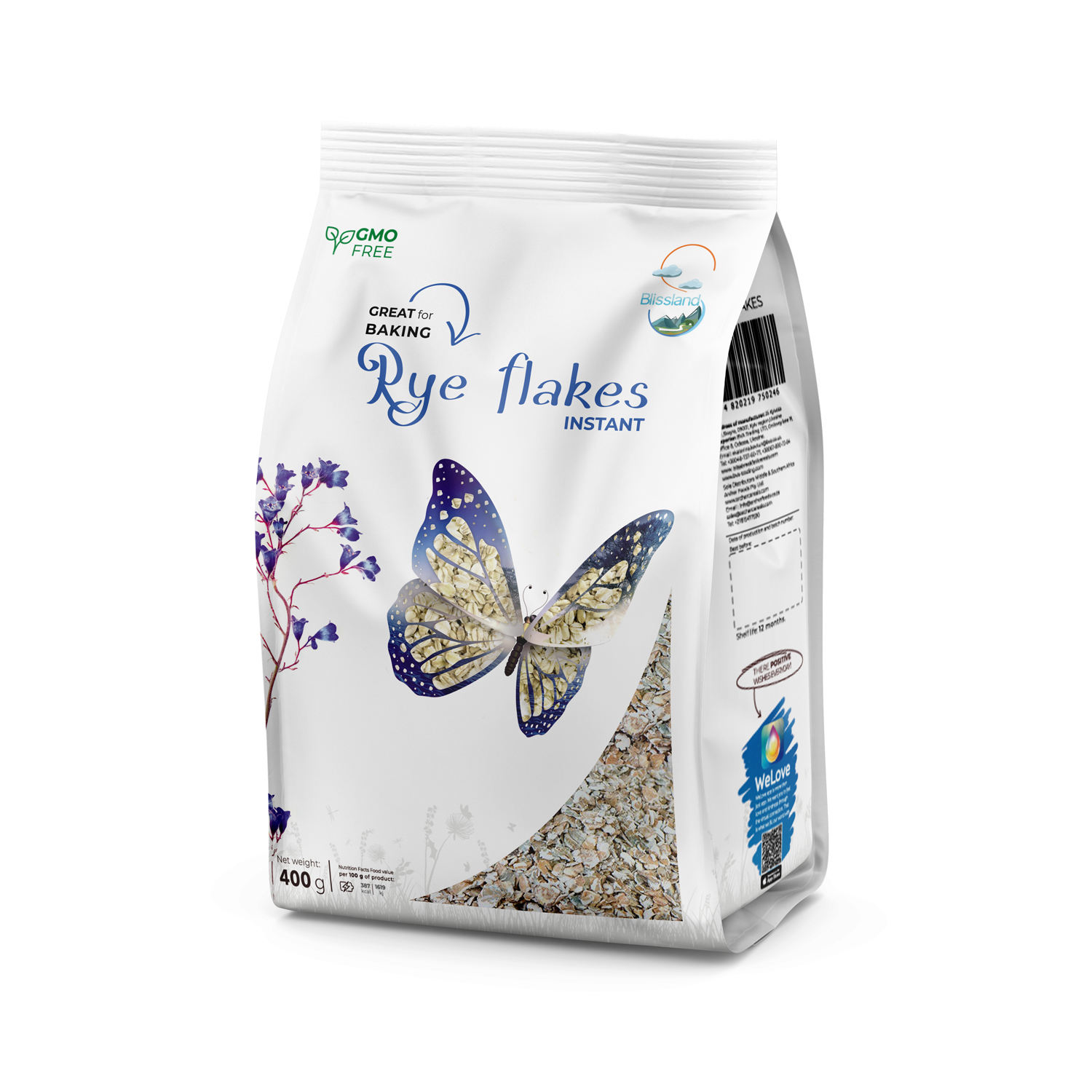 Rye flakes of instant cooking breakfast cereal