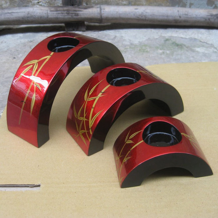 Set 3 of lacquer candle holdrers made in Viet Nam