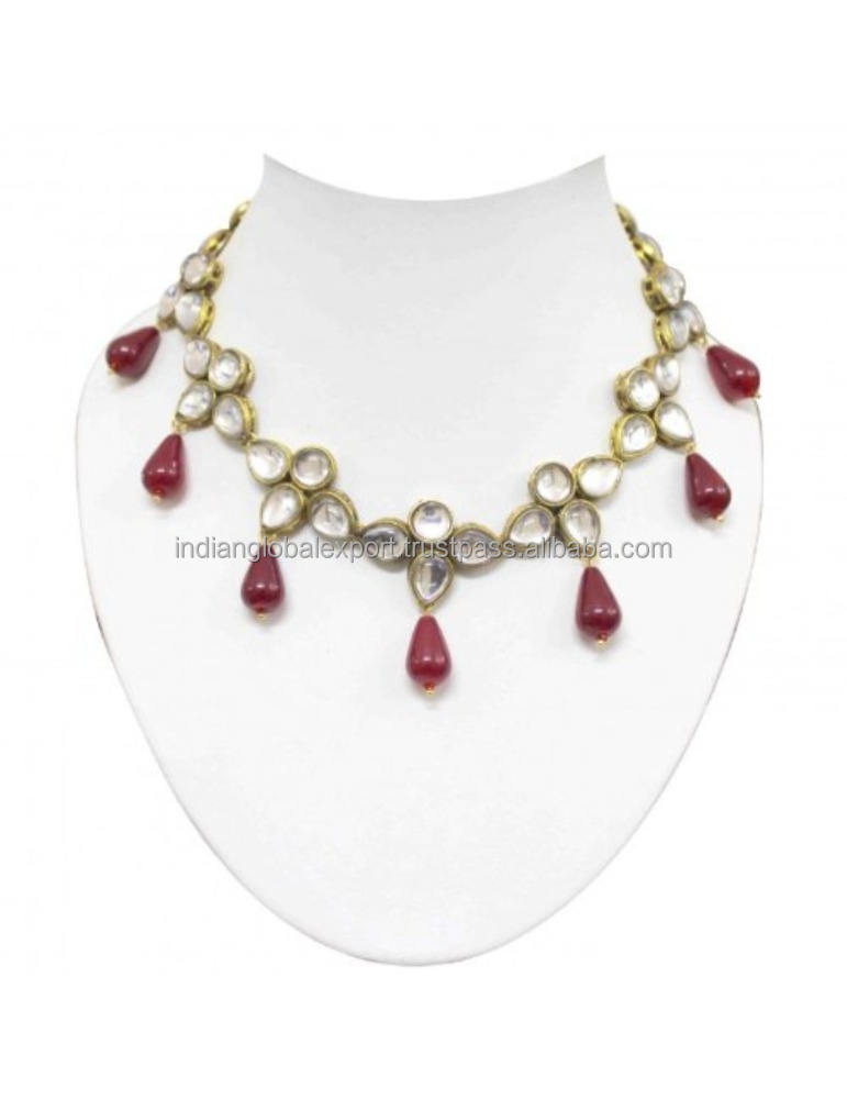 Fancy red drop kundan set wedding party wear sieraden set