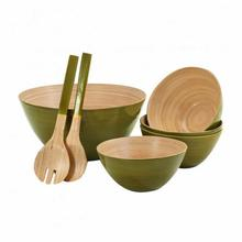 Hot selling Colorful set bamboo bowls with spoon/ Natural set of rice bamboo bowls