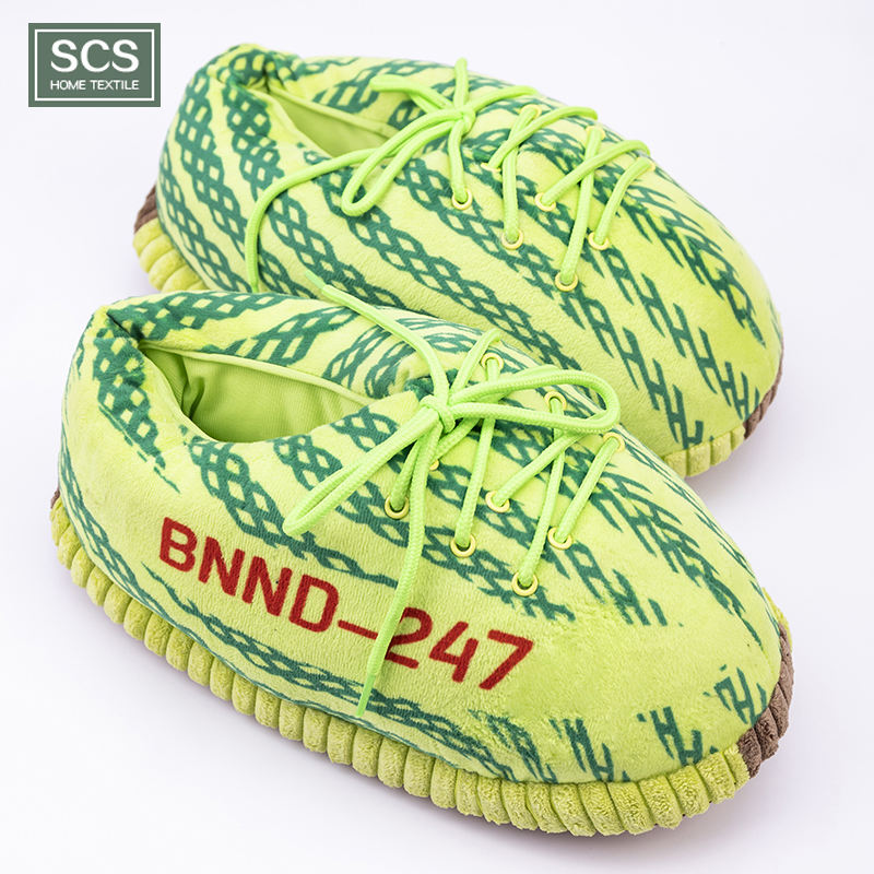 Custom high quality soft adult size plush yeezy slippers sneakers