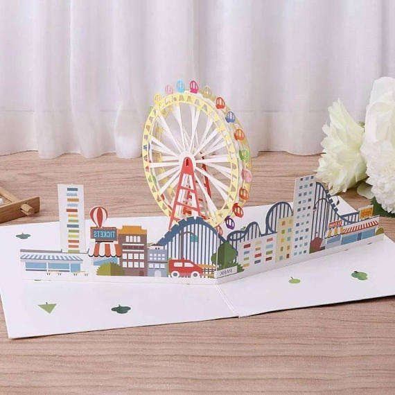 3D BIRTHDAY CARD Ferris wheel Fairground Popup Card - Thank you - Anniversary - Blank Greeting Card