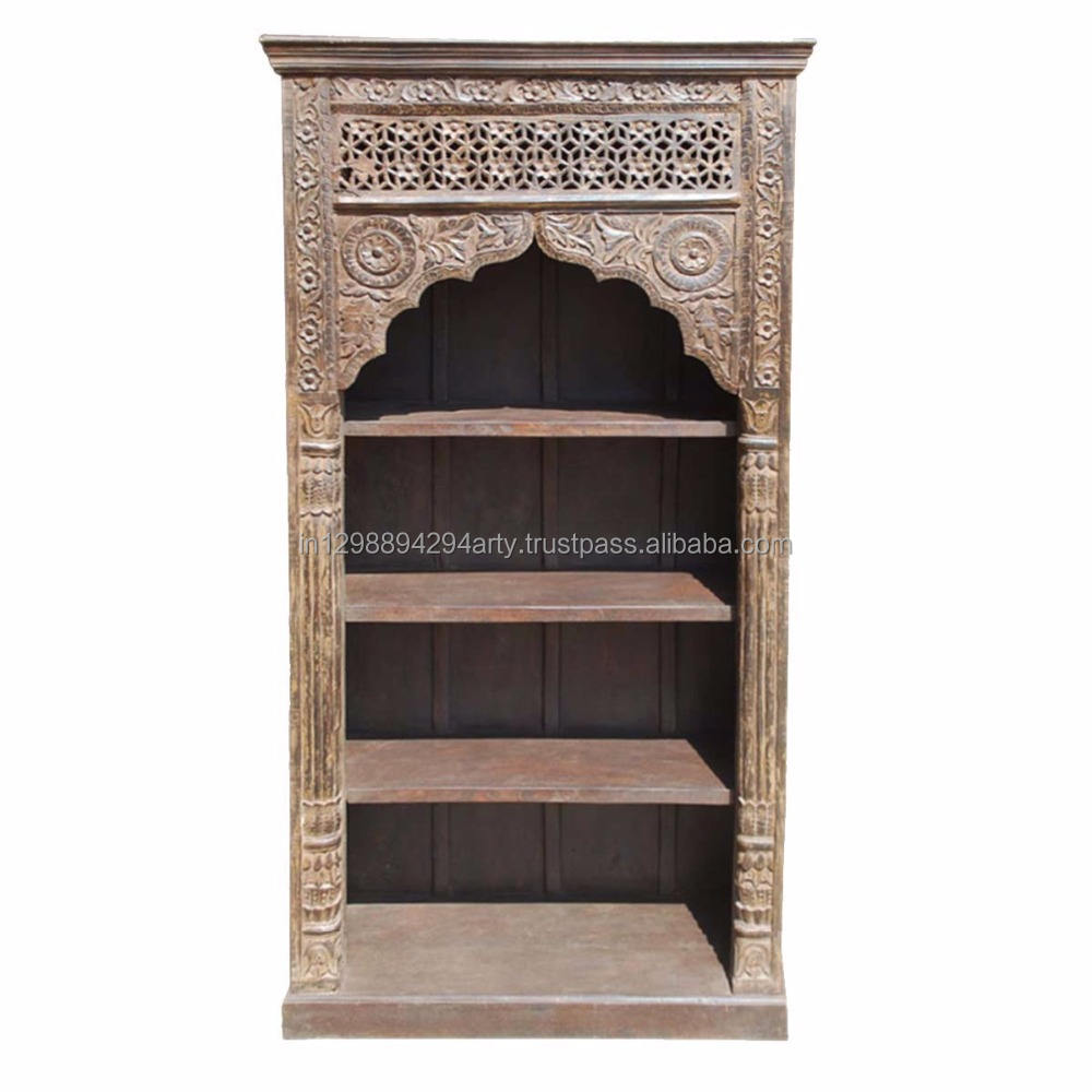 Indian Antique Style Reclaimed Wood Living Room Furniture Three Shelves Carved Bookcase Buy Antique Indian Style Bookcase Hand Carved Bookcases Wood Carved Bookcase Product On Alibaba Com