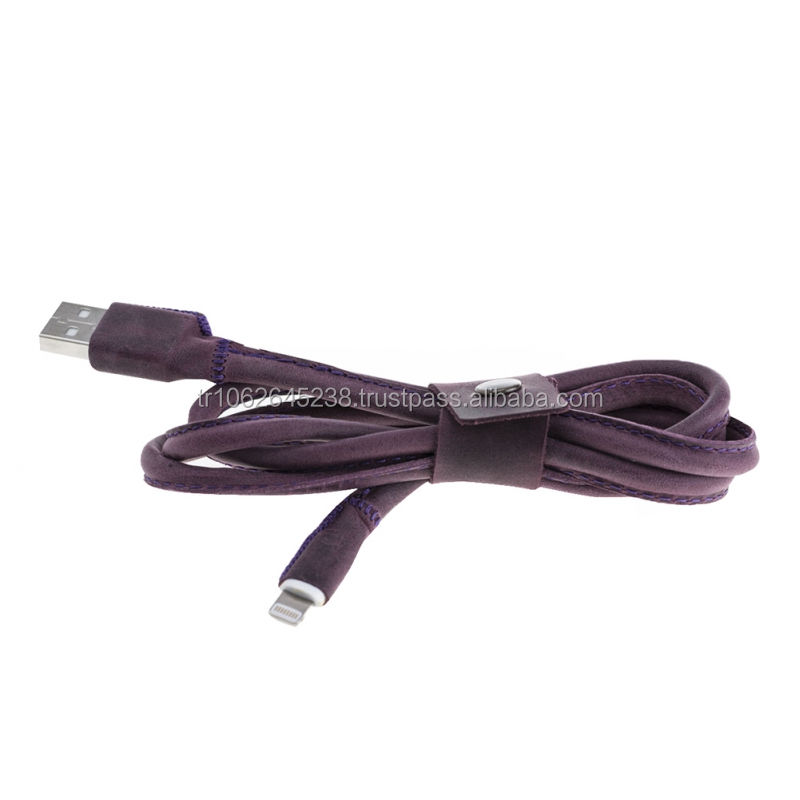 Leather Covered Data Sync Charger Cable and Adapter