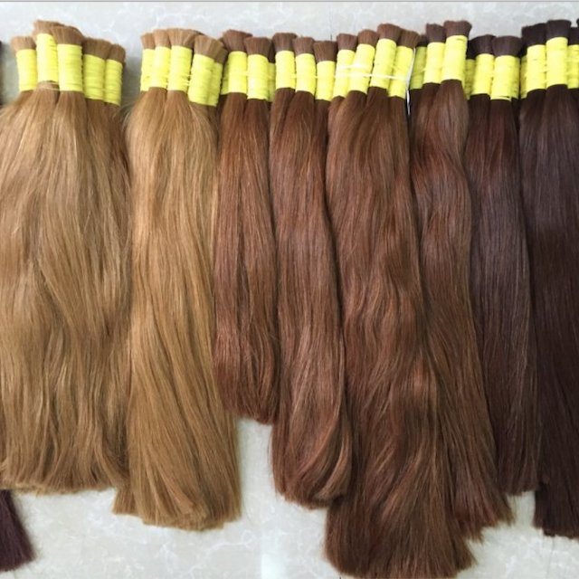 Hotsale virgin straight remy Warm color bulk hair