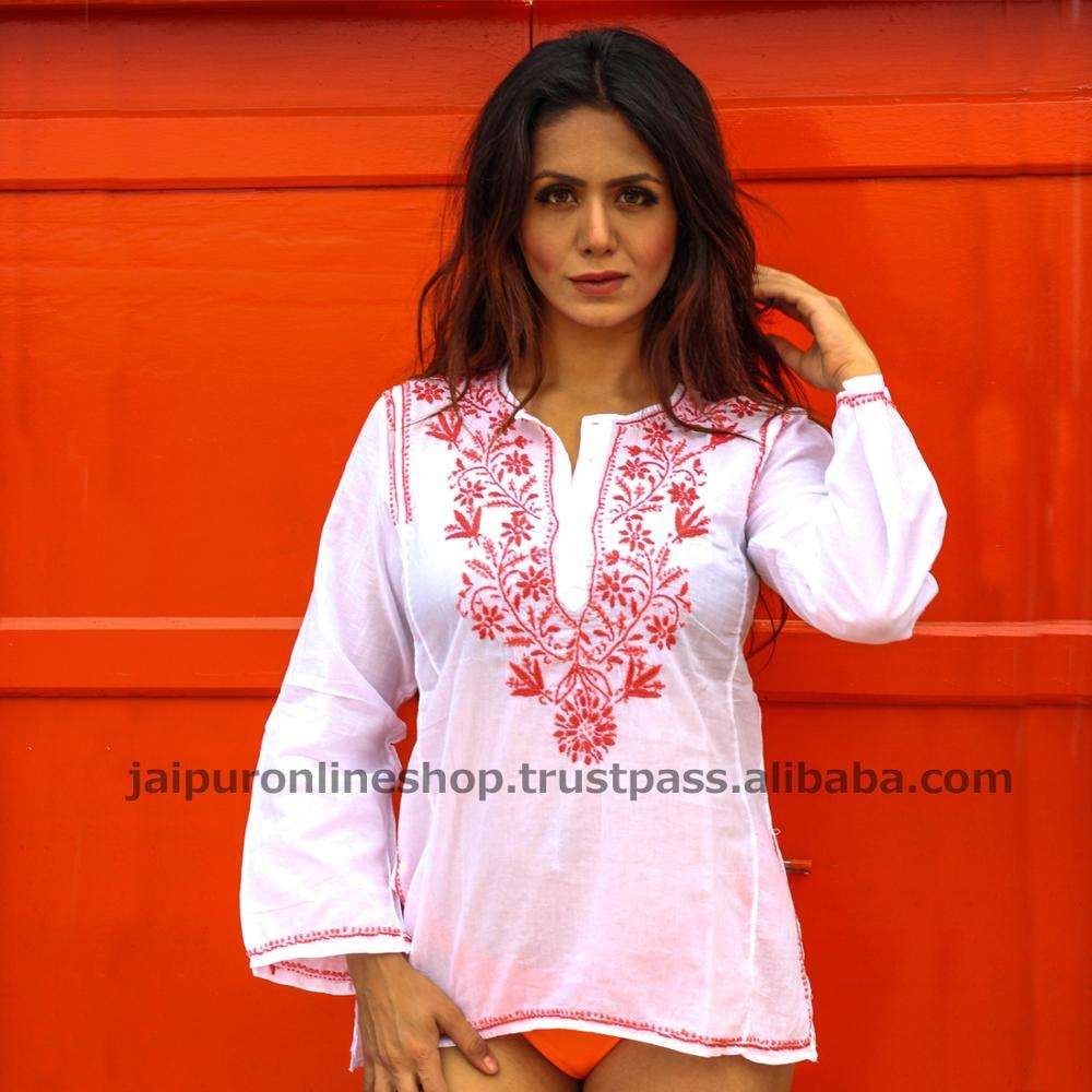 Lucknow Chikan Embroidery Designer Kurti Top Tunics