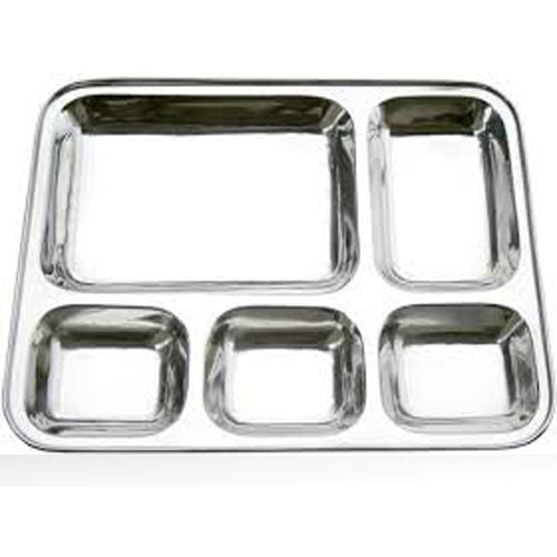 High quality stainless steel fast food mess tray 5 compartment plate