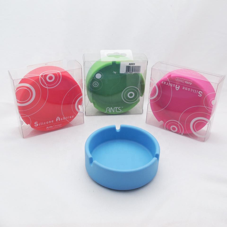 High quality novelty colorful silicone round ashtray