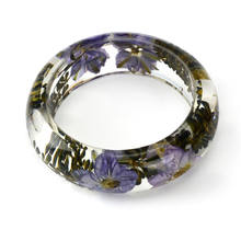 Fantasy Natural Real Dried Flower Crystal Resin Bangle Jewelry accessories