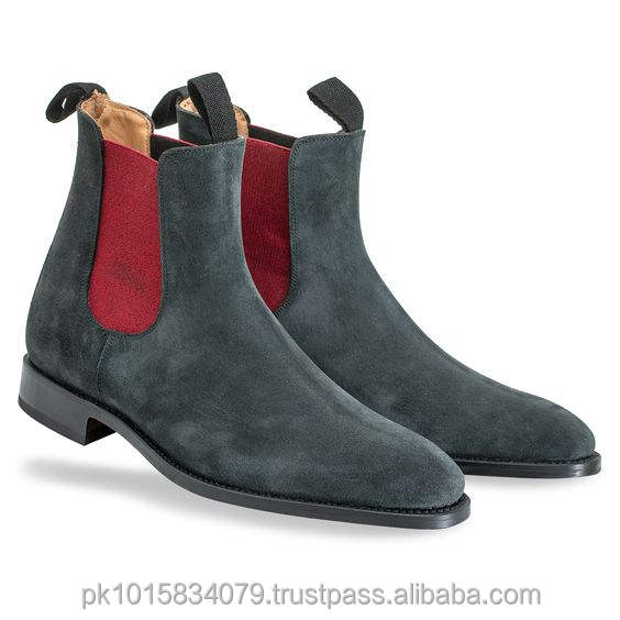 Grey Suede Chelsea Boots Men, Genuine Leather Winter Mens Boots, Designer Fashion Footwear For men