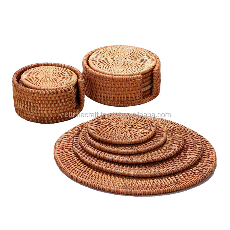 Set of rattan table mat and cup coaster