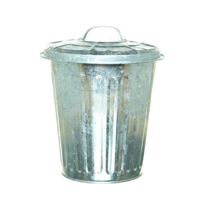 iron tin trash can