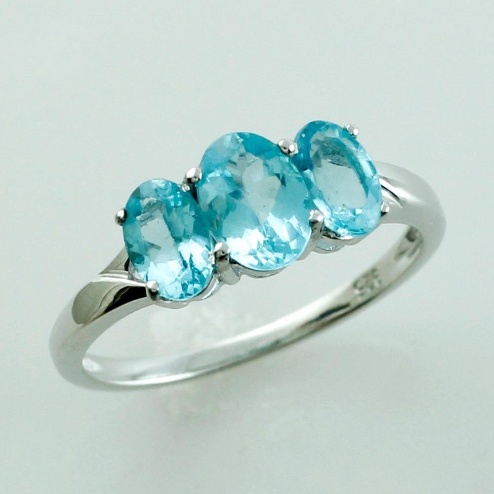 Blue Apatite 1.59 Ct. Trio Ring 925 Sterling Silver Engagement Wedding Jewelry
