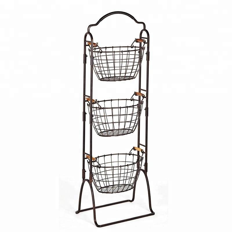 3 Tier Wire Antique Black Modern Market Basket For Display