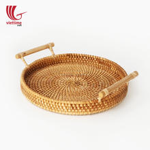 Handwoven Rattan Tray for Serving Food Wholesale/ Rattan Basket/ Wicker rattan basket