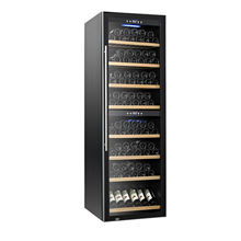 Large luxury 180 bottles stainless steel glass fridge cabinet dual zone compressor refrigerated wine cooler