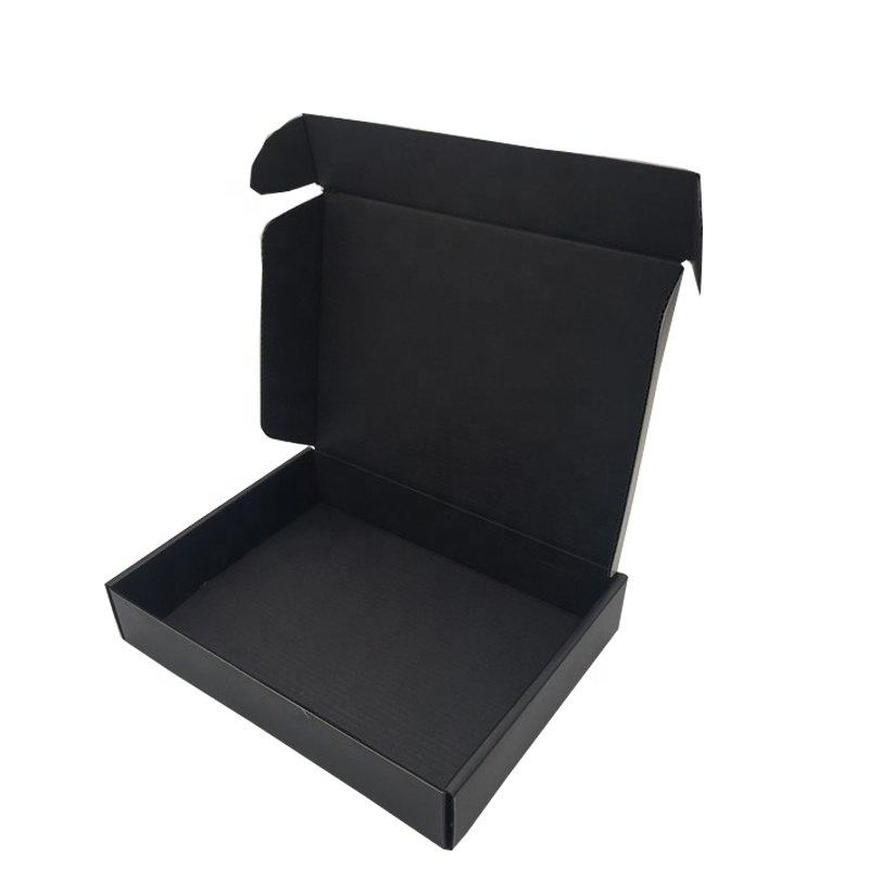 Black Corraguted Foldable Boxes Tray Printing Package with LOGO Spot UV Flap Lock Boxes With Full Printing Outside