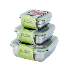 Airtight food storage container set 304 stainless steel bento lunch box 400ml 750ml 1200ml