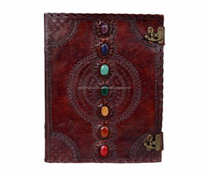Seven Stone Chakra Embossed Brown Leather Journal Note Book dairy Journal