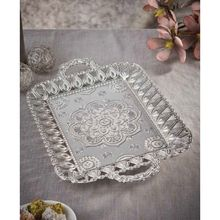 Ecem Large Silver Tea Coffee Serving Tray 28x45 cm