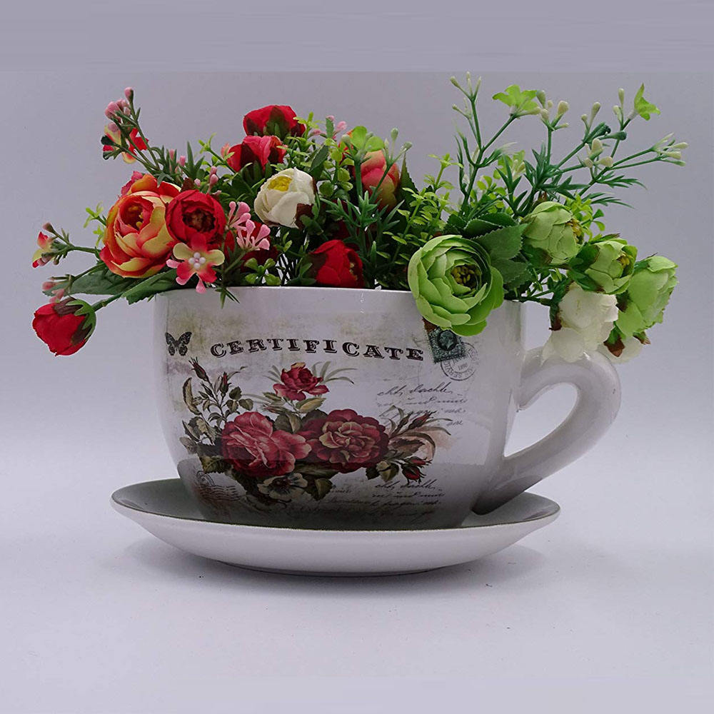 Home Decor Fancy Teacup Shaped Planter Dark Green Saucer, Cup and Saucer Planter