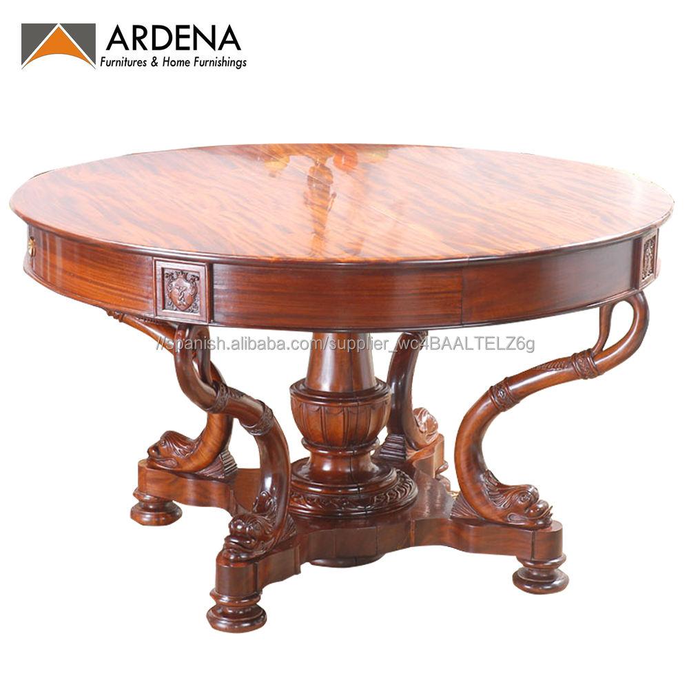 Más Buscados francés mesa de <span class=keywords><strong>comedor</strong></span> extensible muebles con madera de teca caoba muebles para el hogar conjunto