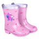 New Product Silver Pink Stars Waterproof Wellies Shoes with Anti Slip Outsole Children Wellington Unicorn Rain Boots for Girls
