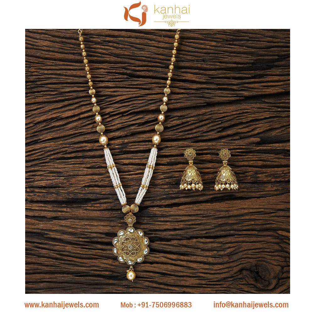gold plated Long pendant set with imitation pearl jewelry 17090 Lct