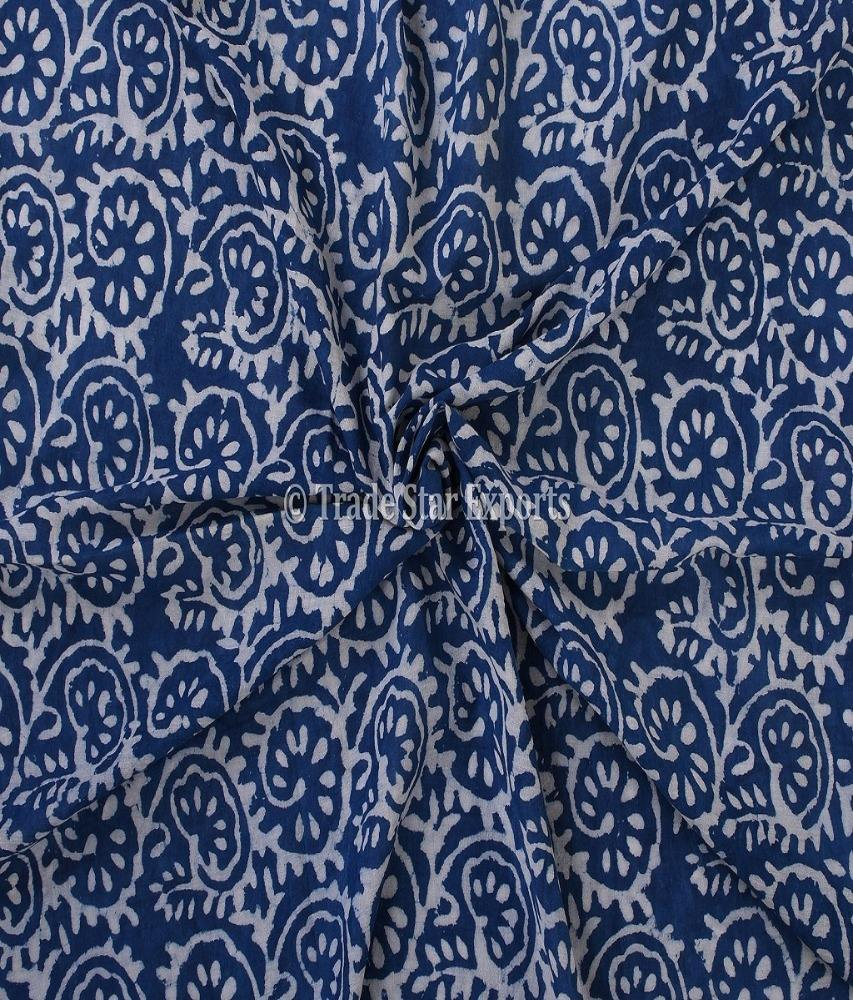 Ethnic Indigo Block Print Fabric For Art 100% Running Cotton Voile Fabric By The Yard Upholstery Sanganeri Material For Fashion