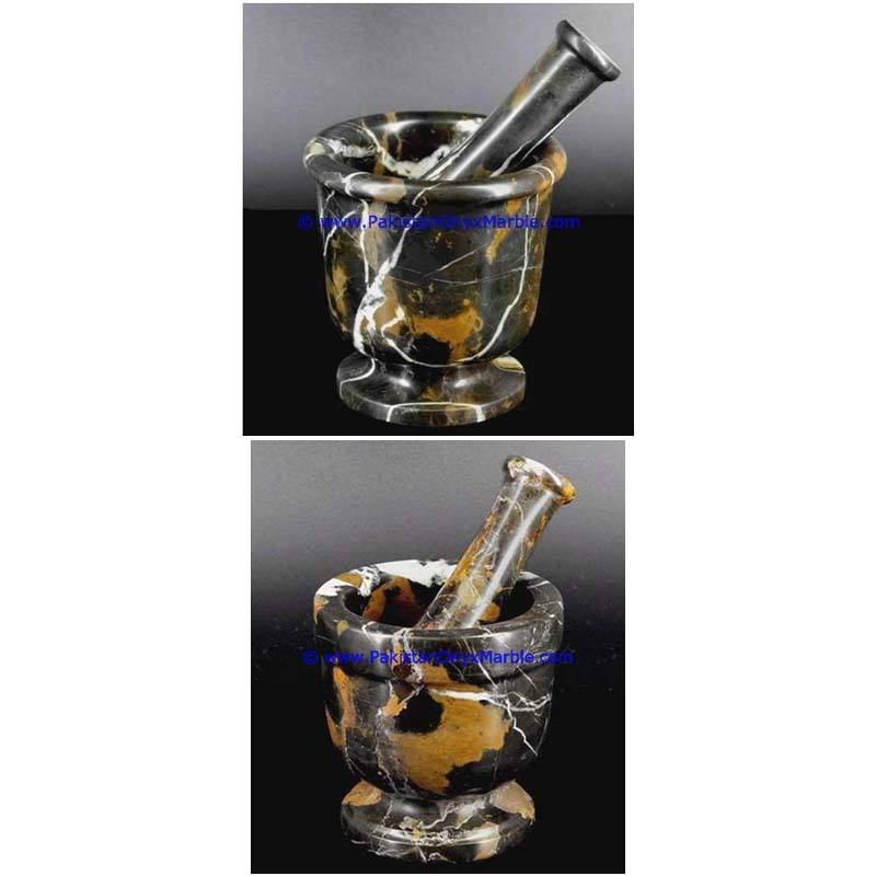 new products custom durable unique marble mortar pestle Black and Gold marble crushing grinding