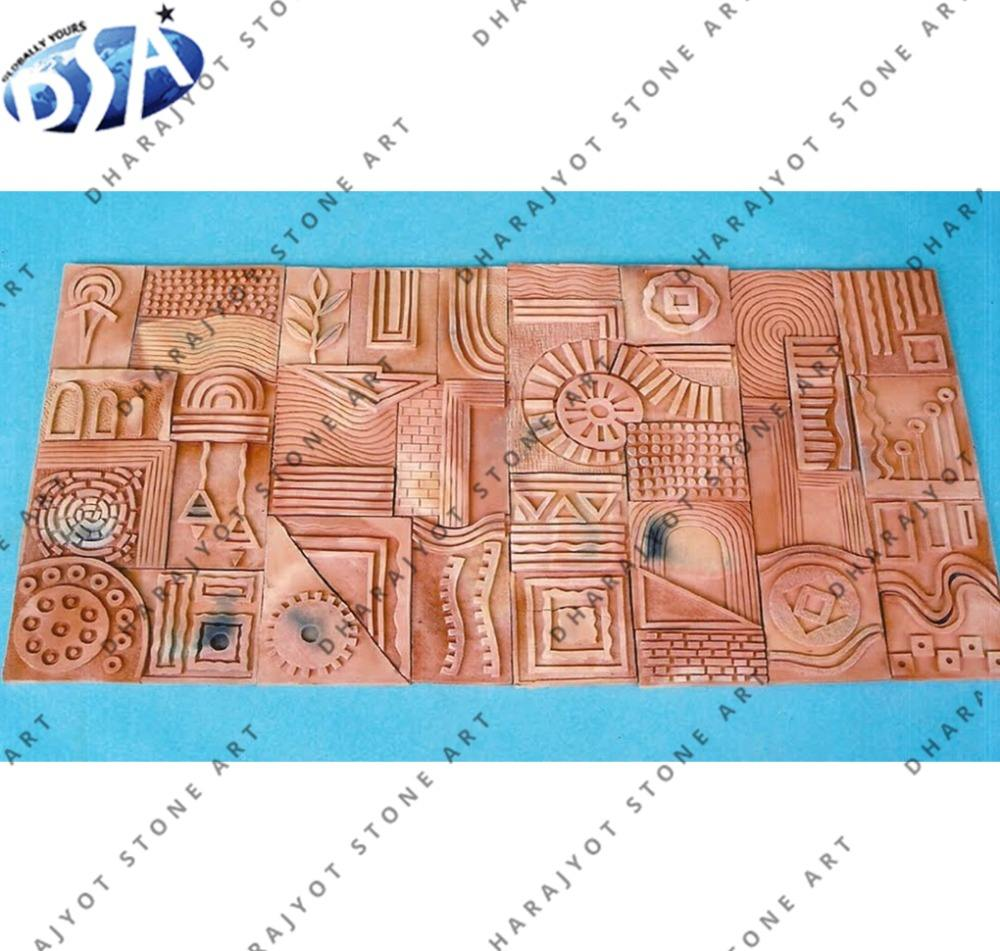 Pink Terracotta Stone Hand Carved Decorative Stone Wall Hanging