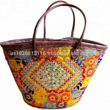 Pretty Handmade Embroidered Straw Wicker Baskets