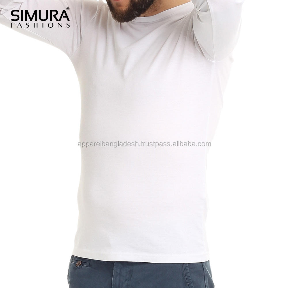White T Shirts 100% Cotton CVC Yarn Quality Guaranteed Single Jersey Long Sleeve T-Shirts Men