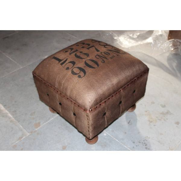 Vintage & industrial solid wood & canvas printed small footrest stool
