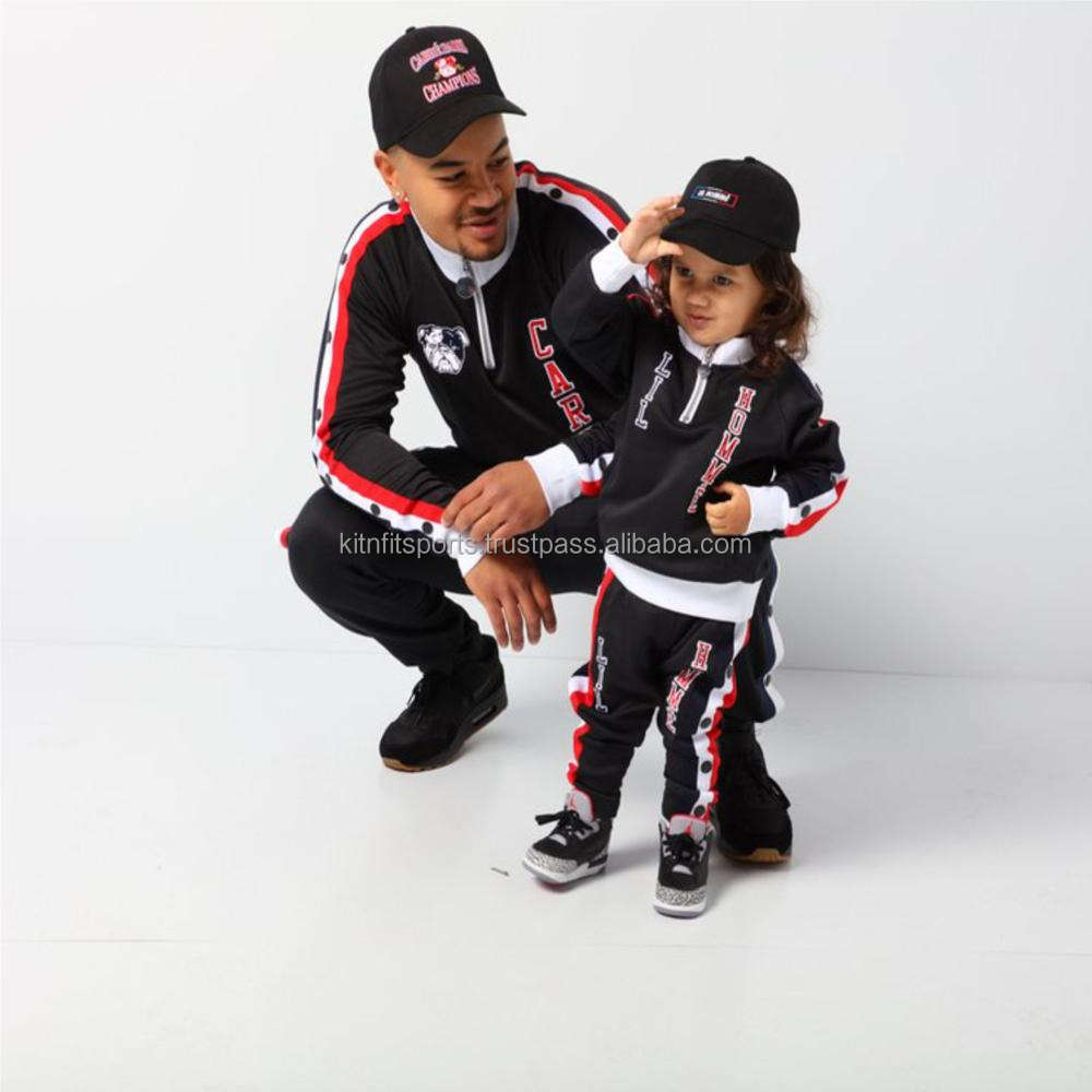 Custom Logo Print Men/Kid Polyester Tracksuit Side Stripe Custom Sports Tracksuit
